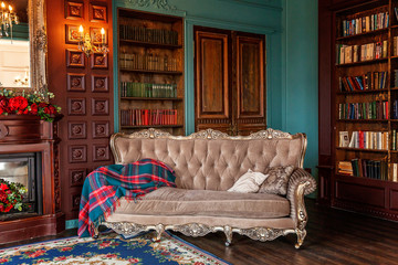 Luxury classic interior of home library. Sitting room with bookshelf, books, arm chair, sofa and fireplace. Clean and modern decoration with elegant furniture. Education read study wisdom concept Fototapete