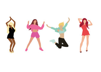 Dancing girl isolated on white background. Vector illustration.