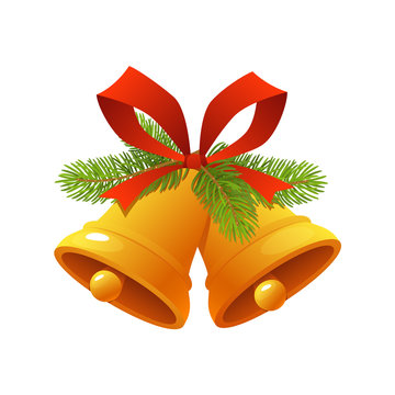 Golden Christmas bell with red ribbon jingle bells icon isolated on white background