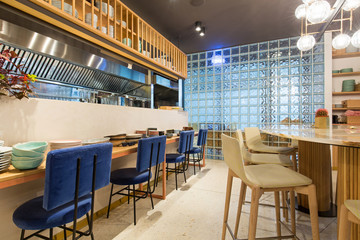 Modern restaurant interior in city center