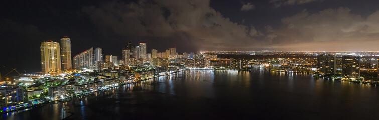 Aerial city and bay panorama night photo