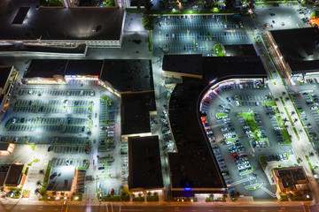 Shopping centers at night