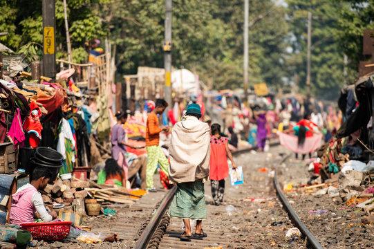 Daily life of poor people in a slum in Kolkata.