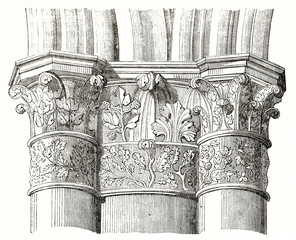 architectonic detail of a pillar's capital in the nave of Reims cathedral France. Isolated element on white background by unidentified author published on Magasin Pittoresque Paris1839