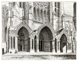 old view of the northern big portal with pointed arches richly decorated of Chartres cathedral France. Created by Andrew Best and Leloir publ. on Magasin Pittoresque Paris 1839