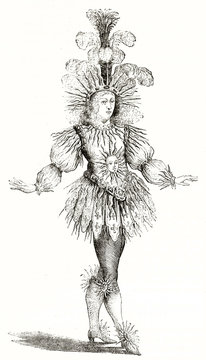 Old engraved full body portrait of King Louis XIV (1638 - 1715) wearing a luxury sun costume, isolated on white. After old engraving in Hennin collection published on Magasin Pittoresque Paris 1839