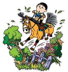 cartoon boy jockey riding his pony horse and training to jump over fence. Funny equestrian cross country jumping sport. Vector illustration
