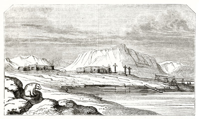Ancient arctic landscape. Few low wooden buildings and a polar bear on foreground. Eastern coast of Spitsbergen Svalbard archipelago Norway. By unidentified author, Magasin Pittoresque Paris 1839