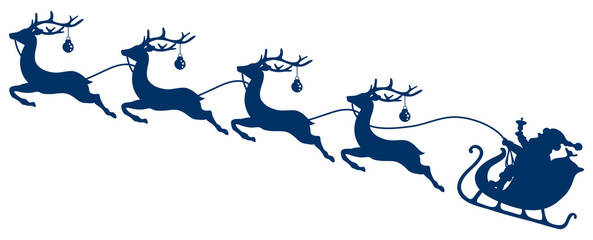 Christmas Sleigh Santa & 4 Flying Reindeers Dark Blue