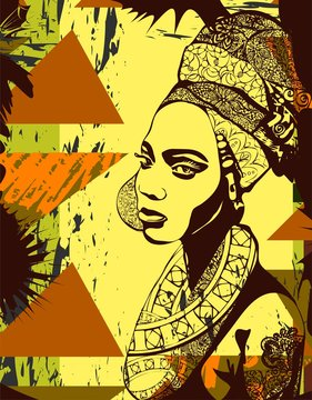 Vector illustration with the african girl for t-shirts, posters, card and other uses. Boho chic. Ethnic style.