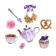 Watercolor tea set with bakery and flowers