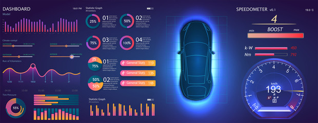 Futuristic user interface. HUD UI. Abstract virtual graphic touch user interface. Car service in the style of HUD. Virtual graphical interface Ui HUD Auto scann. Vector