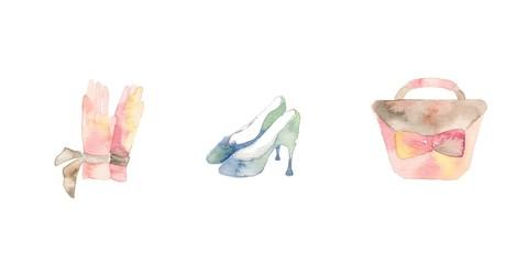 ターコイズブルーとピンクのファッション小物