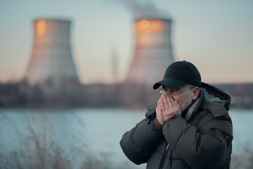 Man breathes polluted air