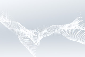 Flowing halftone white waves background.