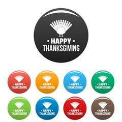 Turkey happy thanksgiving icons set 9 color vector isolated on white for any design
