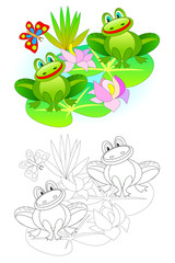 Fantasy illustration of couple of cute frogs in the swamp. Colorful and black and white page for coloring book. Worksheet for children and adults. Vector cartoon image.
