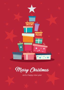 weihnachtliche Grußkarte mit Sternen, Geschenken und Merry Christmas