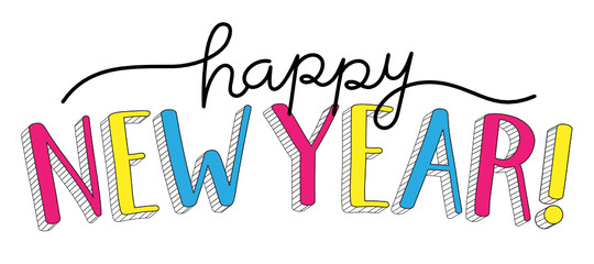 HAPPY NEW YEAR hand lettering banner