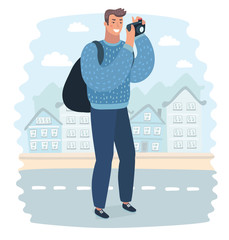 Vector cartoon illustration of Man wanderer is taking photo on camera of city, while he standing on a street.