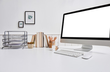 Modern office table close up desktop and folder style with book pencil and frame.
