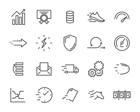 simple set of vector line icons, contain such lcon as speed, agile, boost, process, time and more