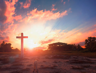Christmas concept: cross of Christ Jesus