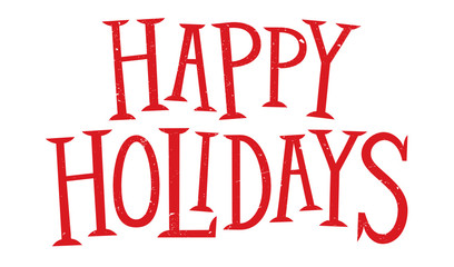 HAPPY HOLIDAYS red hand lettering banner