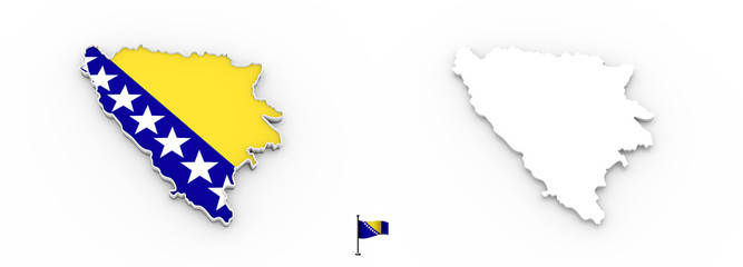 3D map of Bosnia and Herzegovina white silhouette and flag
