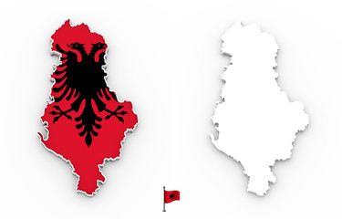 3D map of Albania white silhouette and flag