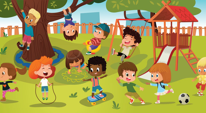 Group of kids playing game on a public park or school playground with with swings, slides, skate, ball, crayons, rope, playing catch-up game. Happy childhood. Modern vector illustration. Clipart.
