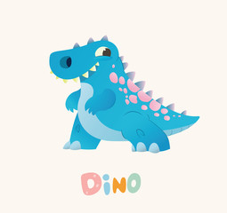 Cute Blue Cartoon Baby Dino. Bright Colorful dinosaur. Childrens illustration. Isolated. Vector