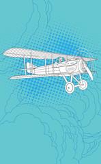 Retro pilot and airplane