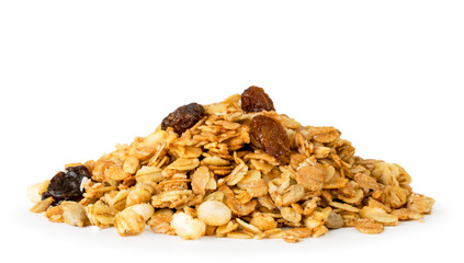Bunch of muesli with nuts closeup on a white. Isolated.