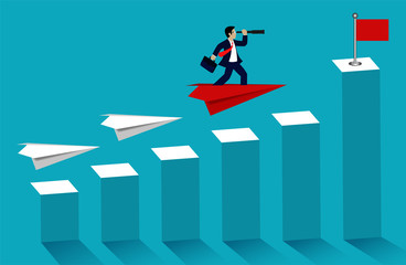 Business success concept. businessman standing on paper plane looking with the telescope growth modern ideas and to corporate goal. competition to destination. cartoon vector illustration