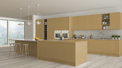 Modern minimalist yellow and wooden kitchen with island and big panoramic window, parquet, pendant lamps, contemporary architecture interior design