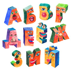 Funny letters of the Russian alphabet, drawn by means of watercolor, part 1