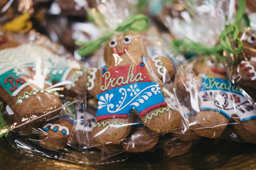 "Decorated ""Praha"" (""Prague"") gingerbread man in traditional Czech colours on sale in Prague, Czech Republic."