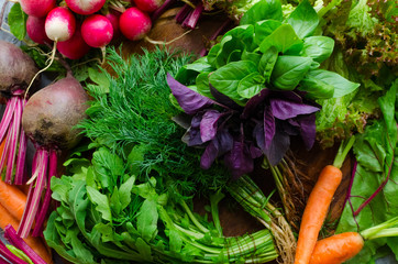 Background texture with assorted raw organic vegetables