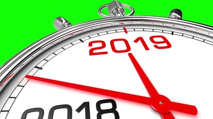 014 new year 2019 clock green screen clock countdown from year 2018 to 2019