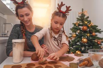 family baking on christmas