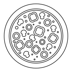 Vegetarian pizza icon. Outline vegetarian pizza vector icon for web design isolated on white background