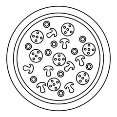 Pizza pepperoni icon. Outline pizza pepperoni vector icon for web design isolated on white background