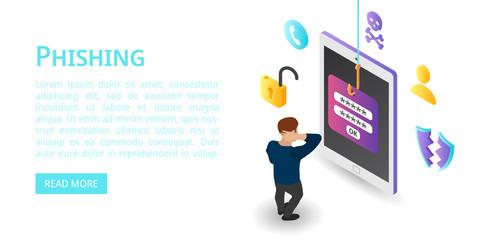 Login password phishing banner. Isometric illustration of login password phishing vector banner for web design