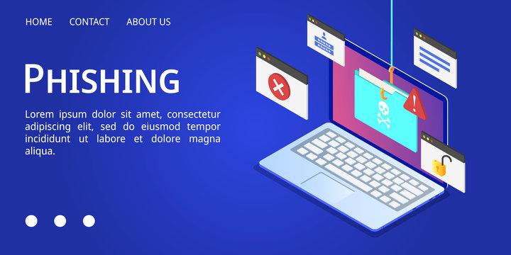 Laptop phishing banner. Isometric illustration of laptop phishing vector banner for web design