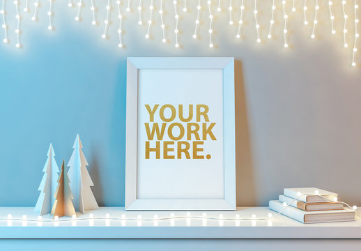Vertical Frame and White Holiday Decorations Mockup