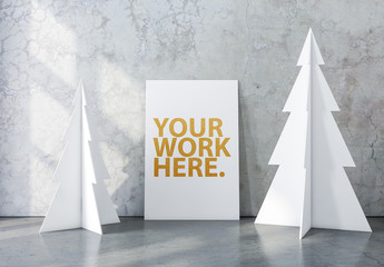 Vertical Canvas on Marble Background Mockup