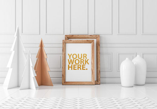 Wooden Frame and Paper Trees Mockup
