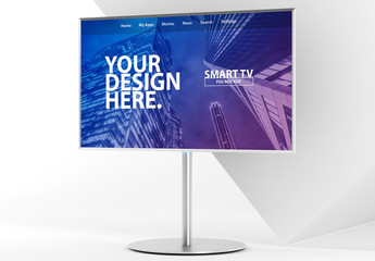 Smart TV on Metal Stand Mockup