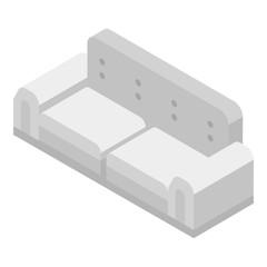 White sofa icon. Isometric of white sofa vector icon for web design isolated on white background